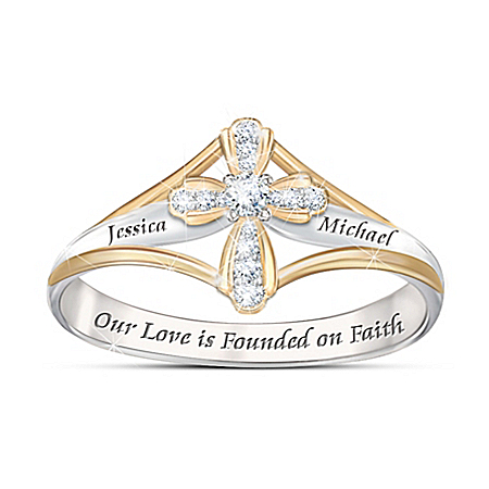 Faith In Our Love Religious Women's Personalized Diamond Ring – Personalized Jewelry