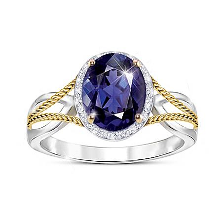 Royal Radiance Women's Iolite & White Topaz Ring