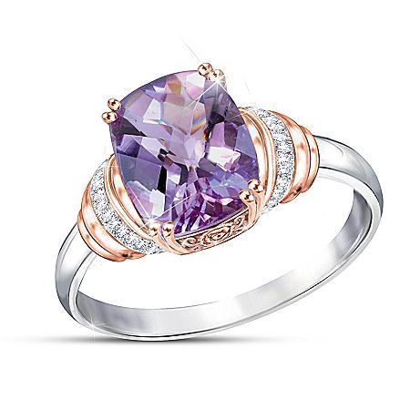 Lavender Radiance Women's Rose De France Amethyst Ring