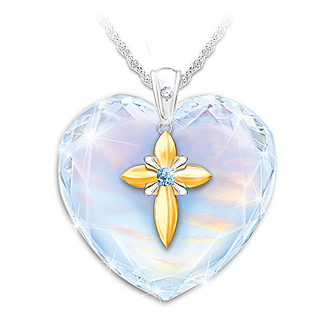 Bless My Granddaughter Crystal Heart Pendant Necklace