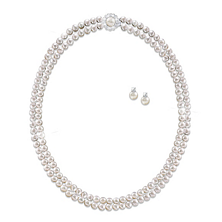 Royal Treasure Simulated Pearl And Diamonesk Necklace And Earrings Set