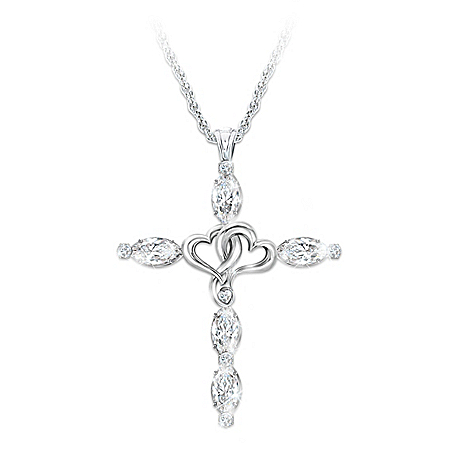 kathy ireland The Beauty Of Faith Cross Women's Sterling Silver Pendant Necklace