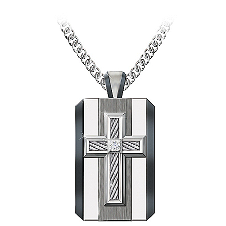 Photo of God Is My Strength Men's Diamond Pendant Necklace by The Bradford Exchange Online