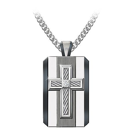 God Is My Strength Men's Diamond Pendant Necklace