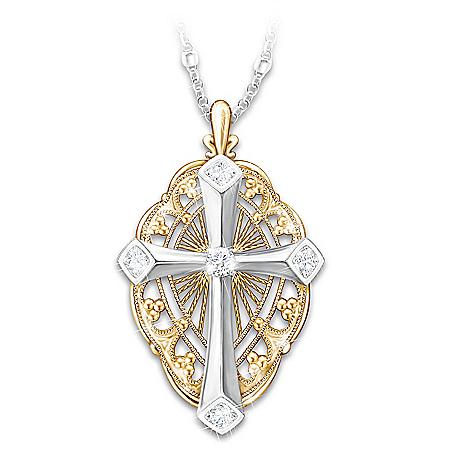 Everlasting Light Diamond Cross Pendant Necklace With Card
