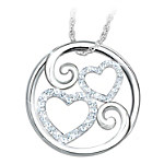 Forever Mother & Daughter Diamond Heart-Shaped Pendant Necklace