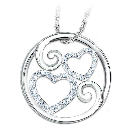 Photo of Forever Mother & Daughter Diamond Heart-Shaped Pendant Necklace by The Bradford Exchange Online