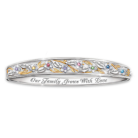 Love Grows Here Women's Personalized Birthstone Bracelet by The Bradford Exchange Online - Lovely Exchange