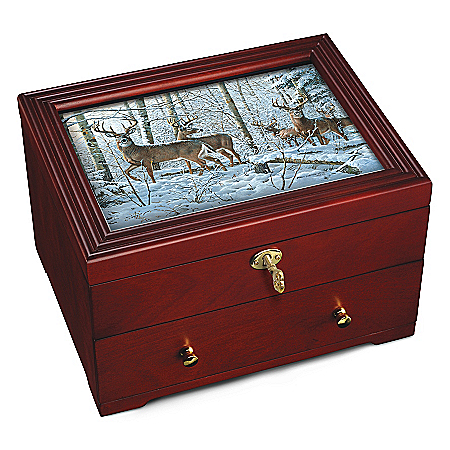 Forest Guardians Custom Crafted Wooden Keepsake Box by The Bradford Exchange Online - Lovely Exchange