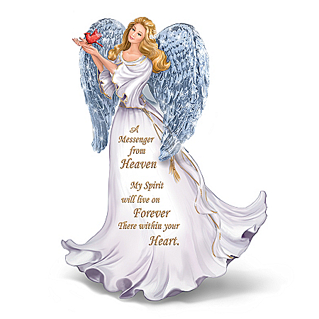 Forever With You Figurine Illuminated Crystal Winged Angel Figurine by The Bradford Exchange Online - Lovely Exchange
