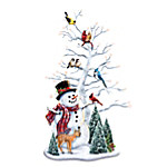 Dona Gelsinger Winter's Gathering Illuminated Snowman & Songbird Tabletop Centerpiece
