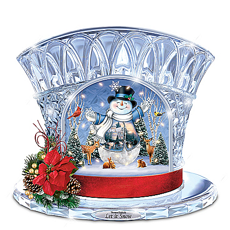 Thomas Kinkade Let It Snow Musical Crystal Snowman Top Hat