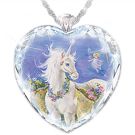 Believe In Your Dreams Personalized Granddaughter Faceted Crystal Unicorn Pendant Necklace