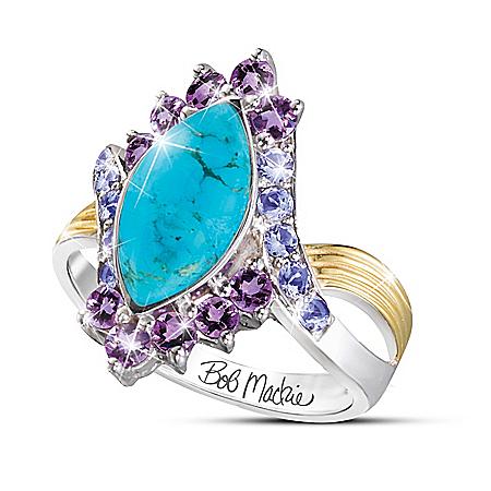 Bob Mackie Turquoise Majesty Women's Genuine Gemstone Ring