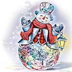Thomas Kinkade Reflections Of Christmas Color-Changing Crystal Snowman Sculpture