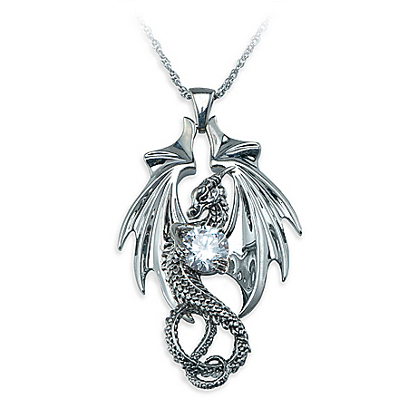 Fire And Ice Dragon Women's Sterling Silver-Plated Pendant Necklace