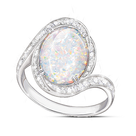 Prisma Allure Diamonesk Simulated Australian Opal Ring