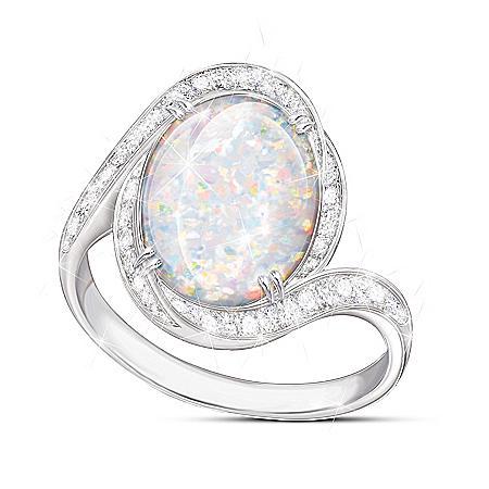 Prisma Allure Diamonesk Simulated Australian Opal Ring