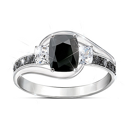 Black Velvet Women's Black Spinel Gemstone Ring