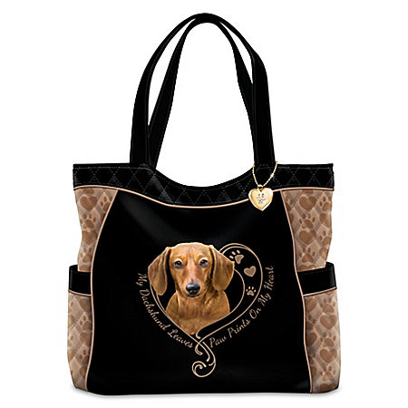 Dog Lovers Designer Quilted Fabric Tote Bag with Paw Print Charm: Choose a Breed