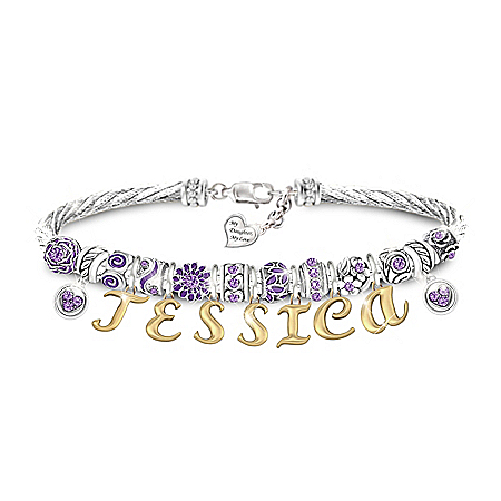 My Daughter, My Love Personalized Birthstone Cable Bracelet – Personalized Jewelry