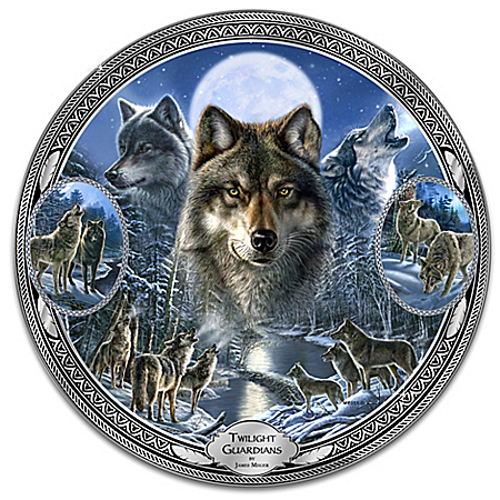 Twilight Guardians Heirloom Porcelain Wolf Plate with James Meger Art: 1 of 5000