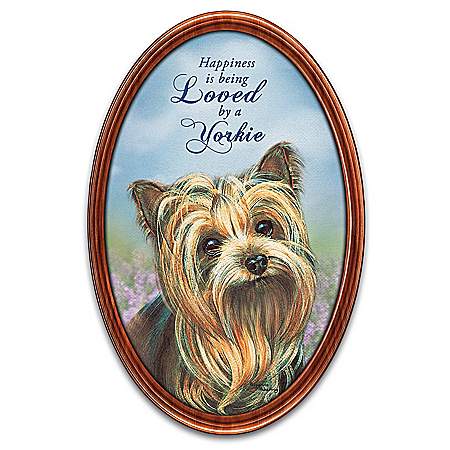 Happiness Is My Yorkie Framed Collector Plate