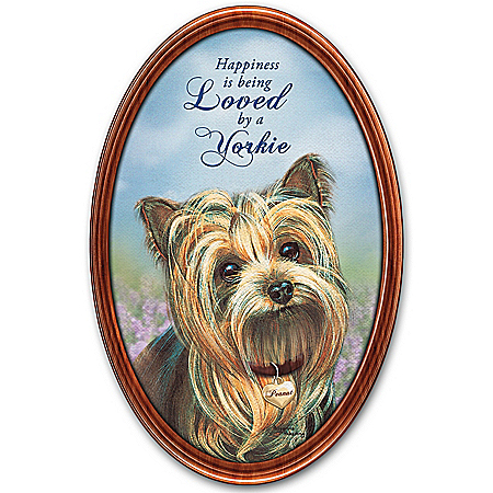 Happiness Is My Yorkie Personalized Framed Collector Plate