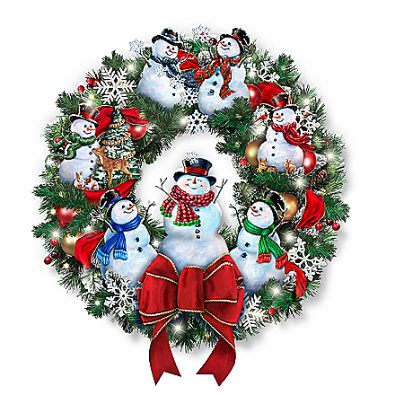 Dona Gelsinger Snow-Kissed Holiday Cheer Illuminated Snowman Wreath