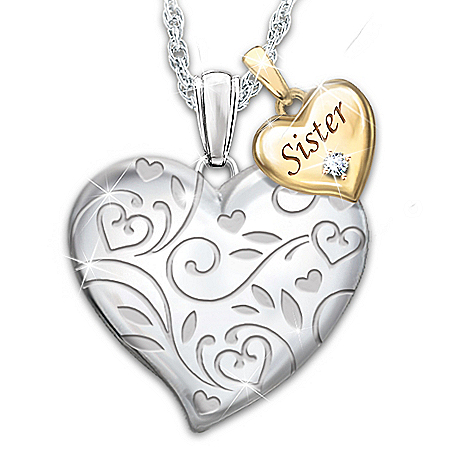Diamond Pendant Necklace For Sisters With Heart Charm