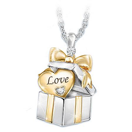 Grandma's Greatest Gift Granddaughter Diamond Pendant Necklace