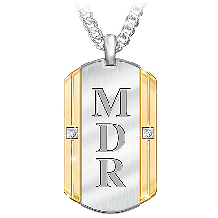 Beloved Son Men's Stainless Steel Personalized Diamond Dog Tag Pendant Necklace