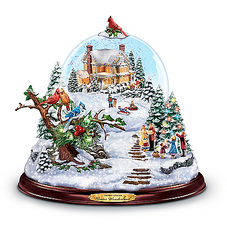 Thomas Kinkade Winter Wonderland Illuminated Hand-Painted Snowglobe