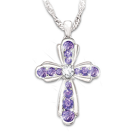 My Dear Daughter Women's Personalized Birthstone Cross Pendant Necklace – Personalized Jewelry