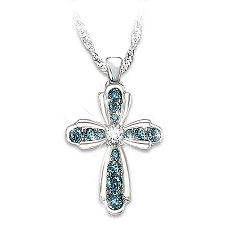 Blessings For My Granddaughter Blue and White Diamond Cross Pendant Necklace
