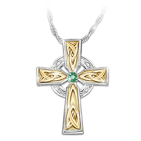 Irish Blessing Women's Celtic Solitaire Emerald Cross Pendant Necklace