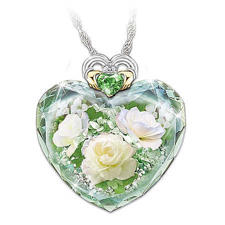 Irish Rose Women's Crystal Heart-Shaped Pendant Necklace