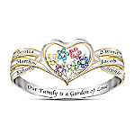Our Family Is A Garden Of Love Women's Personalized Heart-Shaped Birthstone Ring