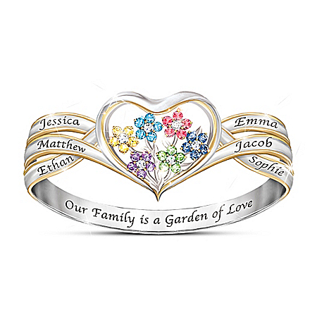 Our Family Is A Garden Of Love Women's Personalized Heart-Shaped Birthstone Ring by The Bradford Exchange Online - Lovely Exchange