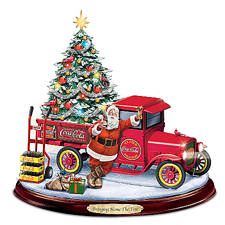 Bringing Home The Tree Lighted Musical COCA-COLA Sculpture