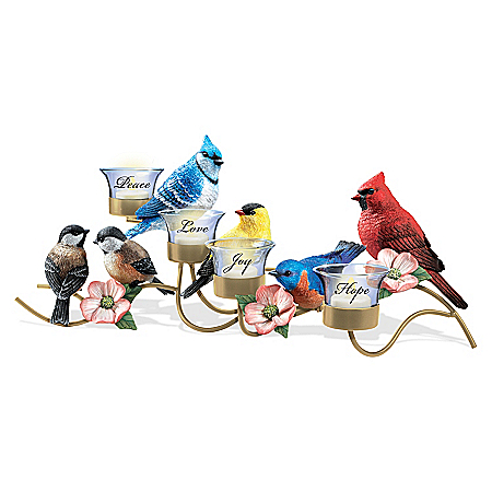 Songbird Table Centerpiece With Flameless Votive Candles