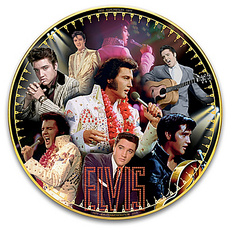 Elvis Presley 40th Anniversary Heirloom Porcelain Commemorative Collector Plate by The Bradford Exchange Online - Lovely Exchange