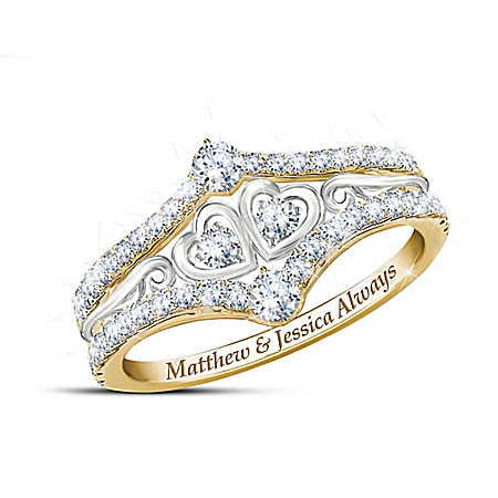 Always Us Women's Personalized White Topaz Ring – Personalized Jewelry