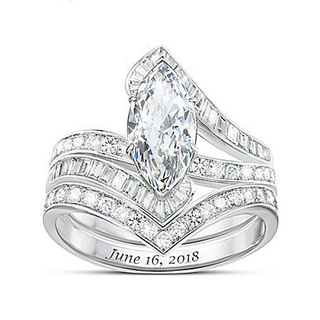 Bob Mackie Forever Beautiful Bride Women's Personalized Platinum-Plated Bridal Ring Set – Personalized Jewelry