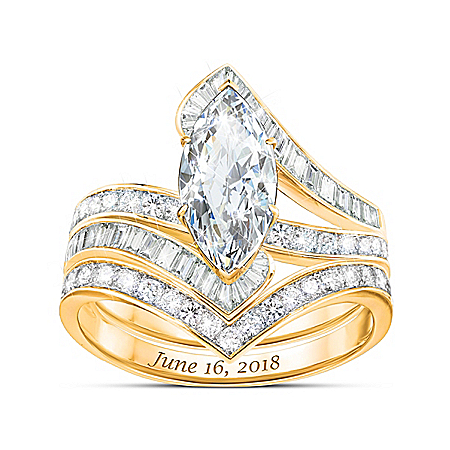 Bob Mackie Forever Beautiful Bride Women's Personalized 18K Gold-Plated Bridal Ring Set – Personalized Jewelry