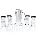 The Beatles Pitcher And Silver-Plated Rim Glassware Set