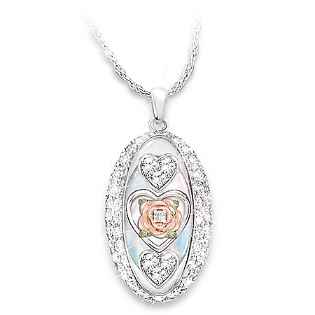 Diamond & Swarovski Crystal Pendant Necklace For Daughter