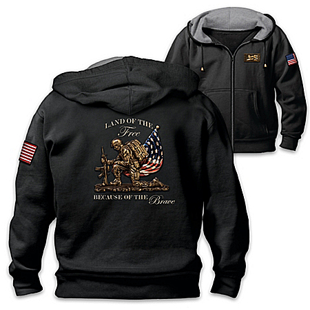 Land Of The Free Men's Cotton Blend Knit Patriotic Hoodie by The Bradford Exchange Online - Lovely Exchange