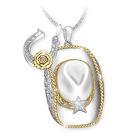 Country Cowgirl Hat Women's Sterling Silver- & 18K Gold-Plated Pendant Necklace