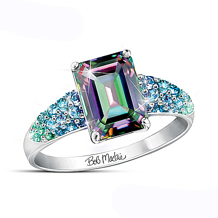 Bob Mackie 3-Carat Mystic Topaz Ring With Simulated Diamonds